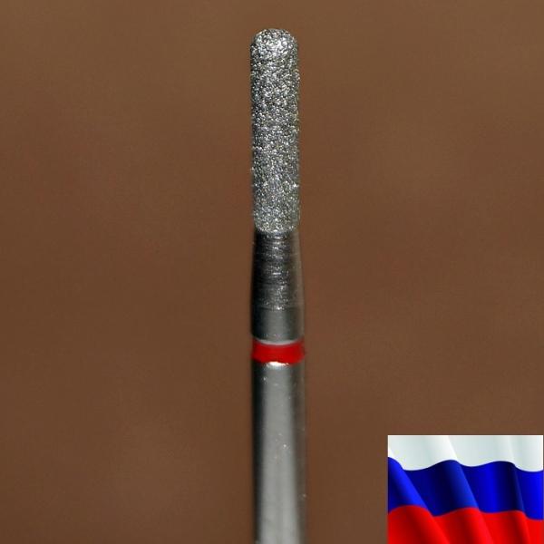"Алмазная фреза ""ЦИЛИНДР закругленный"" (красная), d=2,1 мм"