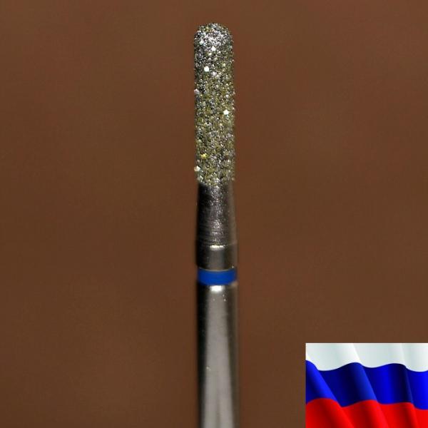 """Алмазная фреза """"ЦИЛИНДР закругленный"""" (синяя), d=2,1 мм"""
