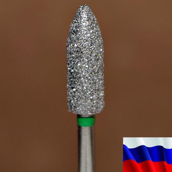 """Алмазная фреза """"ПУЛЯ"""" (зеленая), d=5,0 мм"""