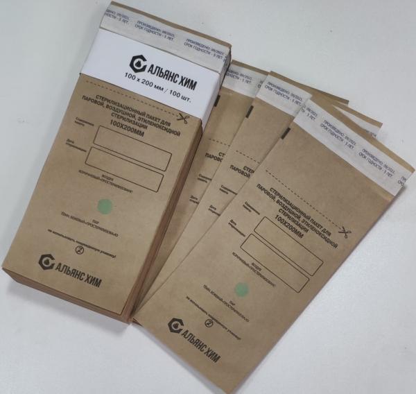 """Крафт-пакеты для стерилизации """"Альянс Хим"""", 100*200 мм, 100 штук"""