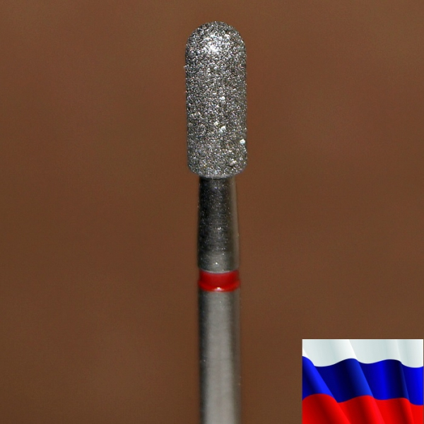 "Алмазная фреза ""ЦИЛИНДР закругленный"" (красная), d=3,1 мм"