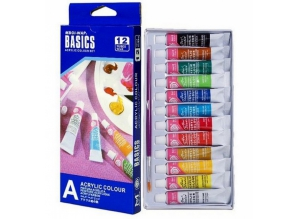 "Акриловые краски ""BASICS"", 12 цветов в наборе"